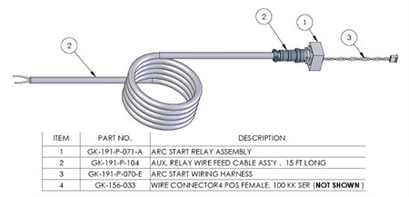 Auxiliary wire feed start relay kit for a second wire feeder